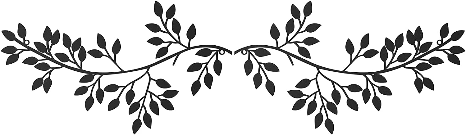 2 Pieces Metal Tree Leaf Wall Decor Black Vine Olive Branch Leaf Wall Art Wrought Iron Scroll Sculptures Above The Bed, Living Room, Outdoor Decoration(Hope, Life, Happiness)