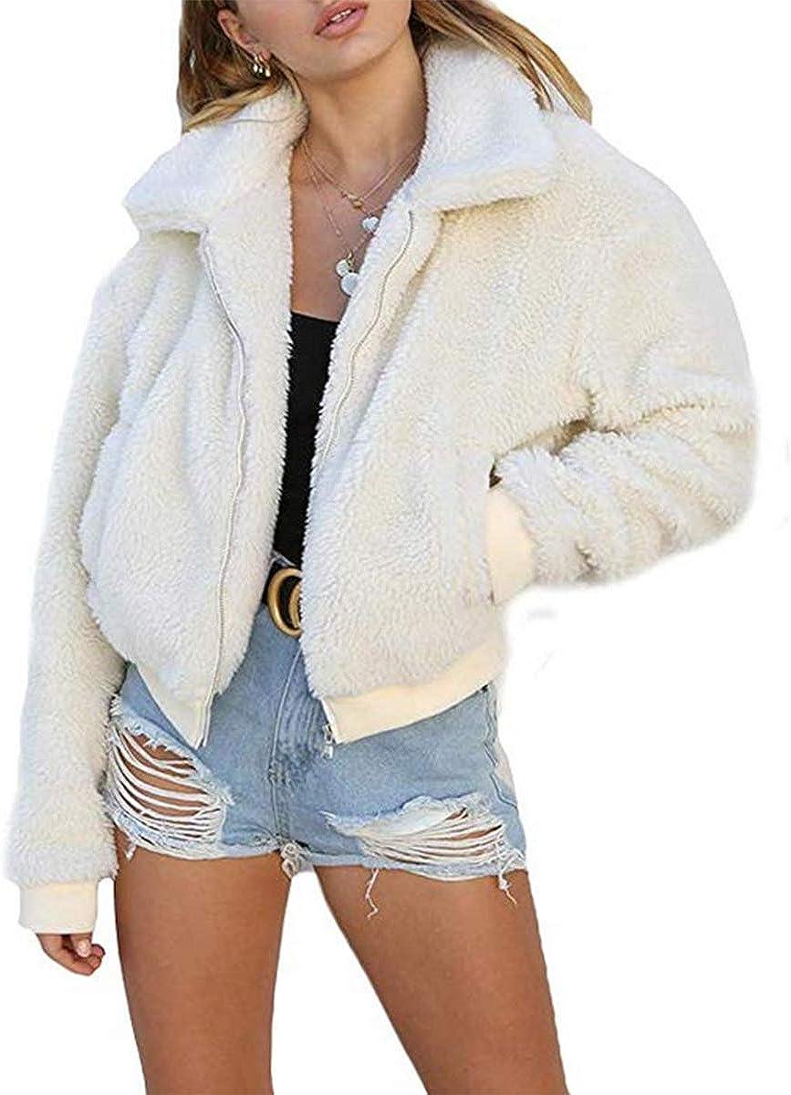 MSDMSASD Womens Faux Fleece Jacket Coat Zip Up Long Sleeve Winter Outwear Shaggy Shearling Jacket