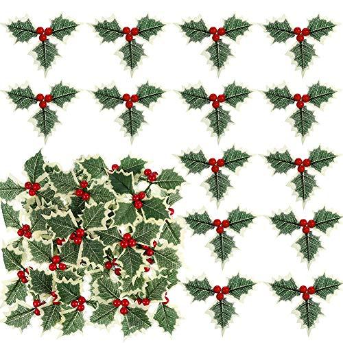 CHEPL Künstliche Weihnachtsbeeren 30 Stück Weihnachtssimulation Holly Berries mit Grünen Blättern, Rote Beeren für Weihnachten, Party-Dekoration
