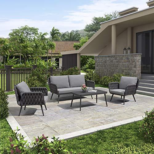 PURPLE LEAF Gartenmöbel Set in Grau, Sitzgruppe für Terrasse Rasen Garten, Loungemöbel Gartenlounge, Ascona