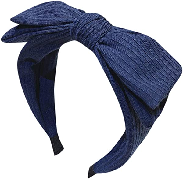 Pinleg Women S Solid Bow Headband Creative Headwear Accessories Headband Multi Layer Large Bow Hair Tiara Retro Simple Hairpin Elastics Hair Bands Navy