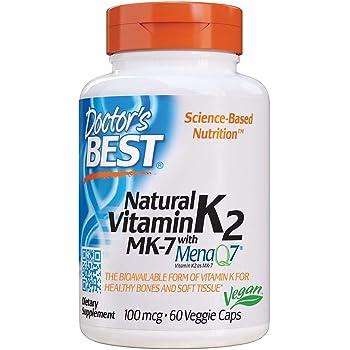 Doctor's Best Natural Vitamin K2 Mk-7 with MenaQ7, Strengthen Bones, Non-GMO, Vegan, Gluten Free, Soy Free, 100 Mcg, 60 VC