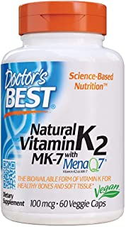 Doctor's Best Natural Vitamin K2 Mk-7 with MenaQ7, Strengthen Bones, Non-GMO, Vegan, Gluten Free, Soy Free, 100 Mcg, 60 Count