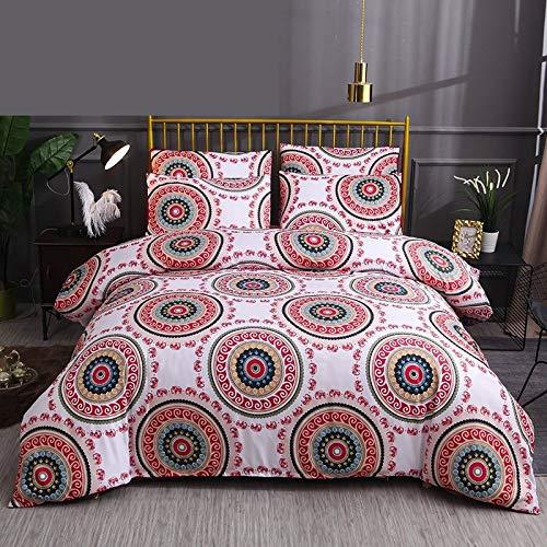 Juego de cama de 4 piezas de algodón para cama de 3 piezas, cómodo, transpirable, funda de edredón clásico rojo retro, para adultos, individual, doble, reina, king, 180 x 220, 4 piezas