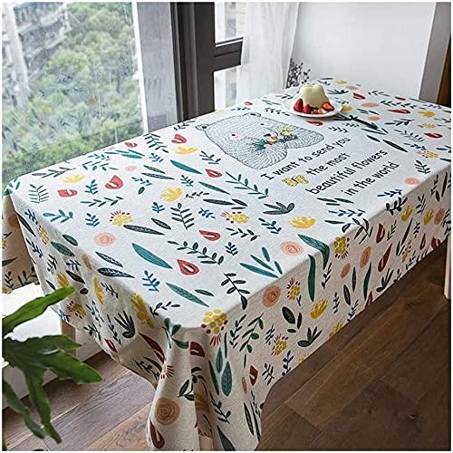 MUZIDP Mantel de algodón y lino, diseño de dibujos animados americanos, rectangular, impermeable, tamaño 140 x 180 cm
