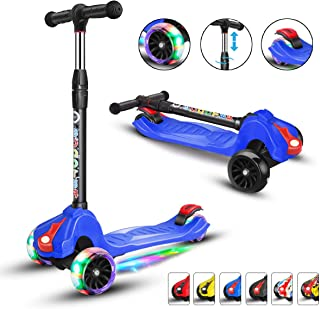 XJD Scooters for Kids Scooter 3 Wheel for Boys Girls 4 Adjustable Height Extra-Wide Deck PU Flashing Wheels Toddlers Scooter for Children from 3 to 14 Years Old