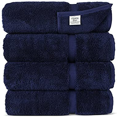 Chakir Turkish Linens Turkish Cotton Luxury Hotel & Spa Bath Towel, Bath Towel - Set of 4, Navy Blue