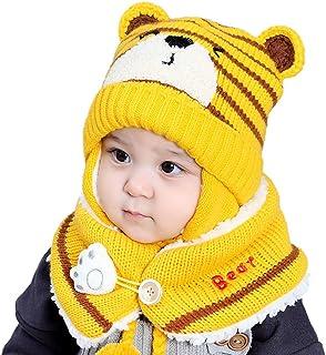 teyiwei - Berretto invernale per bambini, con orecchie e sciarpa, in bambù, berretto in maglia