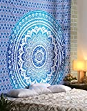 RAJRANG BRINGING RAJASTHAN TO YOU Blue Ombre Indian Wall Hanging - Hippie Mandala Tapiz Bohemia Colcha Ethnic Dorm Decor - Azul - 213 x 137 cm