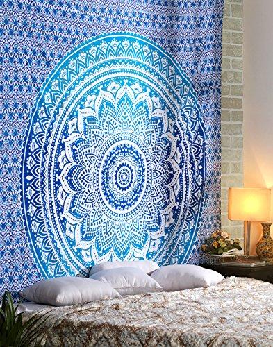 Blue Ombre Indian Wall Hanging - Hippie Mandala Tapiz Bohemia Colcha Ethnic Dorm Decor - Azul - 213 x 137 cm