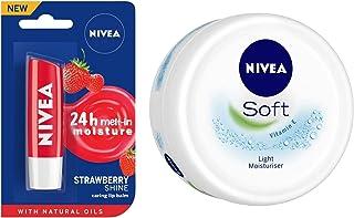 Nivea Lip Care, Fruity Shine Strawberry, 4.8g & NIVEA Soft Creme, 300ml