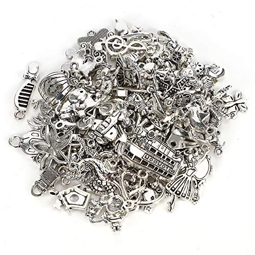 100 Types of Tibetan Silver Accessories,Lots Jewelry,Pendants,Childlike Antique Silver,Deep Silver Cupronickel for DIY Craft Making