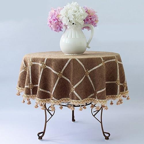 QPG Europ che gehobene Runde Tischdecke mediterranen pastoralen Stil Tischdecke Tuch Haushalt ( Farbe   Braun , Größe   D200cm   )