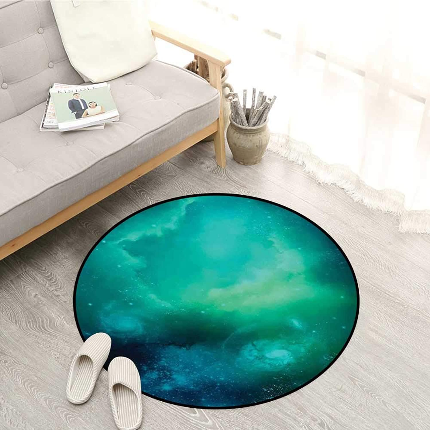 Outer Space Kids Rugs Fog Space Starfield Nebula and Planet Universe Astral Zone Movements Celestial Sofa Coffee Table Mat 4'7  Navy Teal