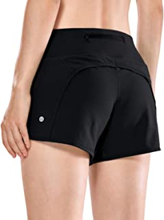 CRZ YOGA Women's Athletic Workout Sports Running Shorts with Zip Pocket - 4 Inches