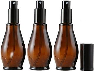 3 botellas vacías rellenables de vidrio de color ámbar con atomizador negro y tapa antipolvo para aceites esenciales ar...