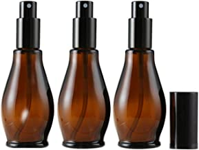 3PCS 100ML 3.4OZ Brown Gourd Glass Spray Bottle Fillable Empty Perfume Jar Light-Proof Cosmetic Container Portable Refillable Durable Fine Mist Box for Travel Home Business Trip