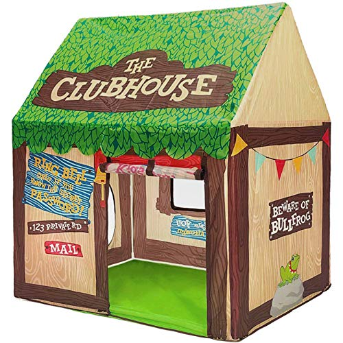 Swehouse Clubhouse Tent Kids Play Tents for Boys School Toys for Indoor and Outdoor Games Children Playhouse with Roll-up Door and Windows