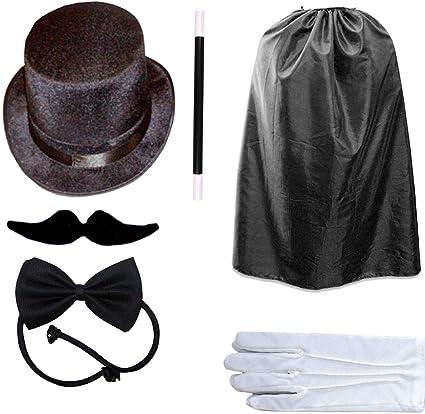 MAGICIAN COSTUME SET ADULTS KIDS UNISEX HAT MAGIC WAND GLOVES RABBIT FANCY DRESS