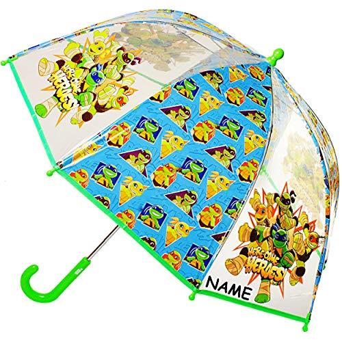 alles-meine.de GmbH Regenschirm - Teenage Mutant Ninja Turtles - inkl. Name - Kinderschirm - Ø 73 cm - groß / durchsichtig & durchscheinend - transparent - Glockenschirm - sturmf..