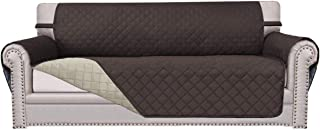 Easy-Going Sofa Slipcover Couch Cover Reversible Sofa Cover Furniture Protector Anti-Slip Foams Printing Water Resistant Elastic Straps PetsKidsChildrenDogCat (Oversized Sofa, Chocolate/Beige)