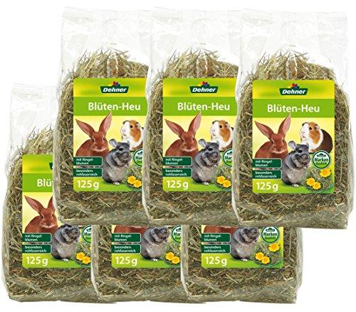 Dehner Snack para roedores con Flores de heno, 6 x 125 g...