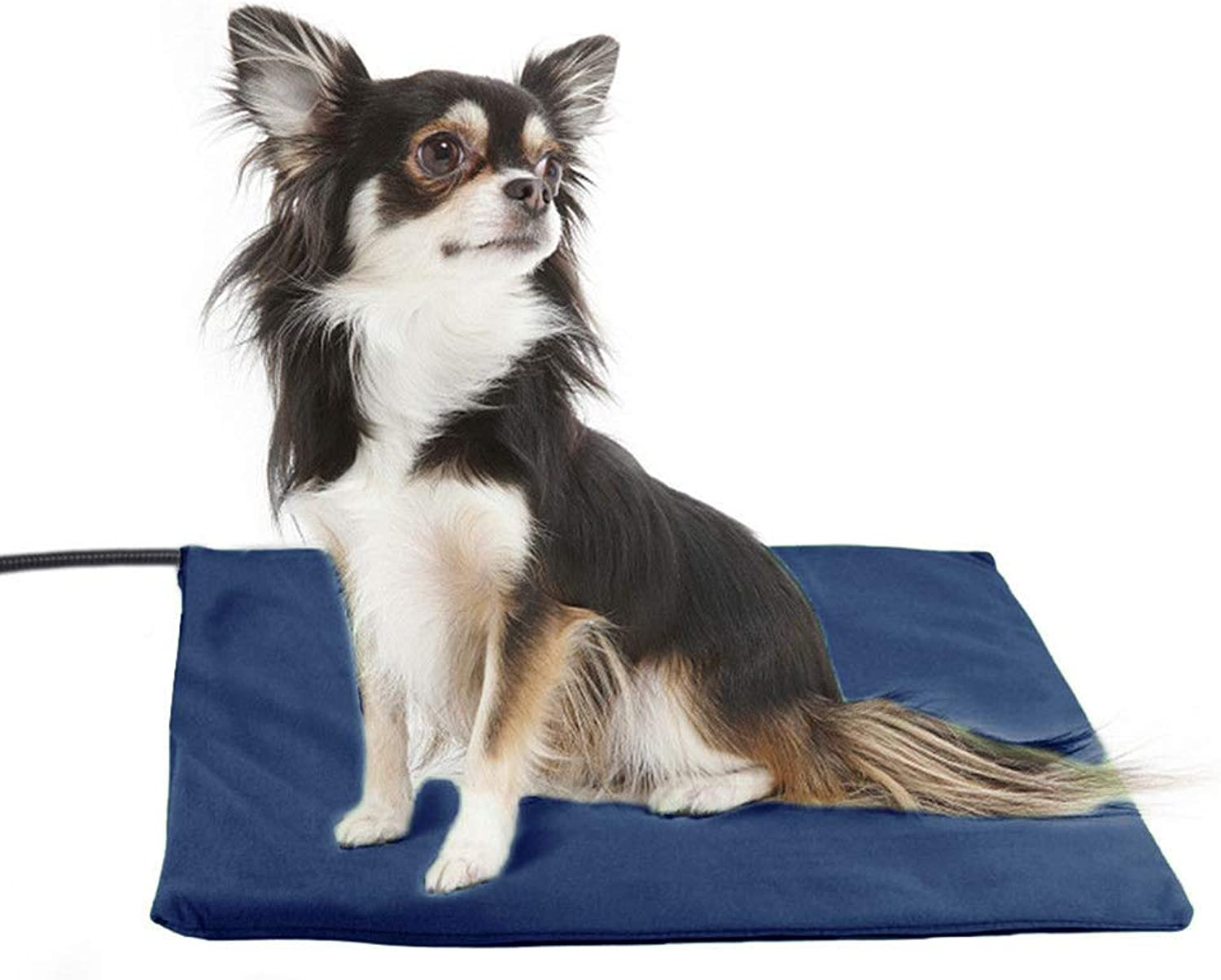 DMGF Pet Heating Pad,Dog Cat Electric Heating Bed Mats,Liner Waterproof 7 Grade Temperature Control with Chew Resistant Cord & 2 bluee Fleece Washable Covers,M