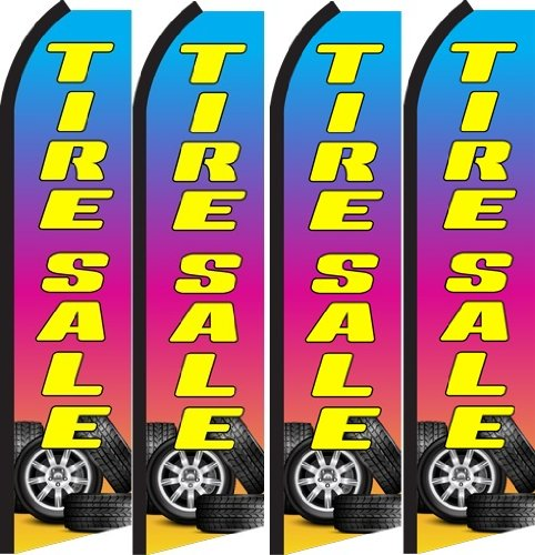 Tire Sale Standard Size Swooper Feather Flag Sign Pk of 4 (11.5x 2.5 Feet)