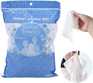 100 PCS Compressed Towel Portable Mini Cotton Towel Disposable Coin Tissues Toilet Paper Magic Napkin Baby Wipes Biodegrad...