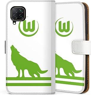 DeinDesign Klapphülle kompatibel mit Huawei P40 Lite Handyhülle aus Leder weiß Flip Case VFL Wolfsburg Fußball Offizielles Lizenzprodukt