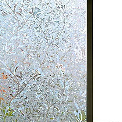 Window Film Privacy Decorative Window Films Window Cling Film Static Cling Window Film Anti UV No Glue Heat Control Glass Film for Home Kitchen and Office