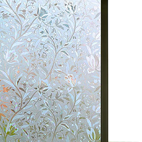 Niviy Excellent Quality 3D Static Cling Window Film Non-Adhesive Window Covering Decorative Flower Privacy Film for Window 17.7 x 78.7