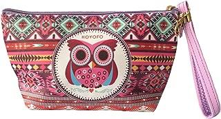 HOYOFO Owl Pattern Makeup Pouch Bag Wristlet Travel Cosmetic Bag Coin Purse Clutch, Totem