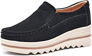 Tezoo Slip-on Walking Shoes Suede Pure Color Slip On Stitching Flat Soft Shoes for Women Dark Brown US 5.5