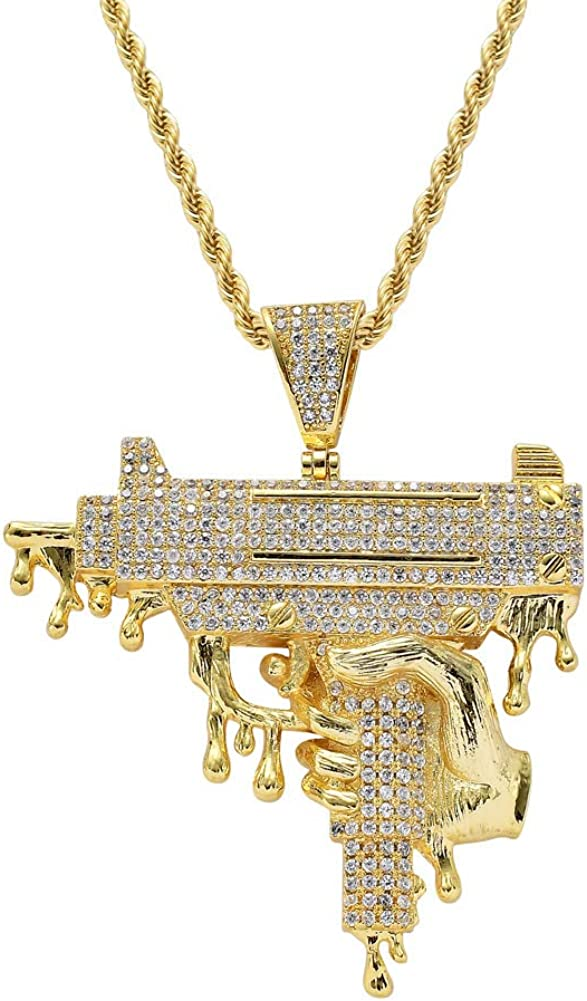 Moca Jewelry Iced Out Exquisite Hand Gun Big Size Pendant 18K Gold Plated Bling CZ Simulated Diamond Hip Hop Necklace for Men Women