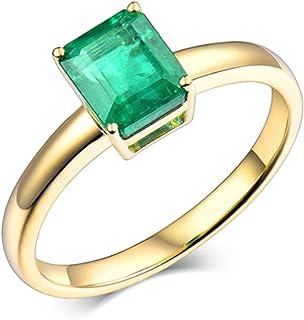 Daesar Anello Oro Giallo Donna 18K,Anelli di Fidanzamento 4 Griffe Smeraldo Rettangolo 1.6ct Anelli Oro Giallo