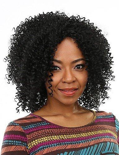jiayy perruque noir cheveux faux pas cher sexuels résistant au Chaleur pelucas synthétiques bordelais pour les femmes noires, Black