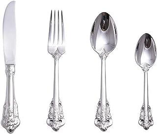 Haut de gamme 304 Couverts en acier inoxydable Western Golden Set Argent Dîner Couteaux Fourchette Cour Dessert Cuillère R...
