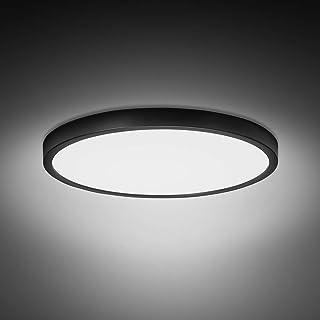Combuh Plafón LED 28W 2520LM Blanco Frío 6500K Negro Delgado Lampara de Techo para Baño Dormitorios Salones Cocina Oficina Ø30cm