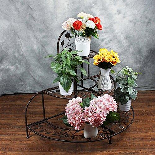 XIAOLIN- 94cm * 81cm semi-circulaire pliable étagère de fleur de style européen à plusieurs étages cadre de fleur cadre d'angle d'escalier de fleurs (blanc, noir, brun) --Cadre de finition de fleurs ( Couleur : Marron )