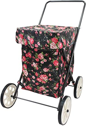 Extra Large Collapsible Shopping Trolley 4 Wheels, Water Resistent, Flower