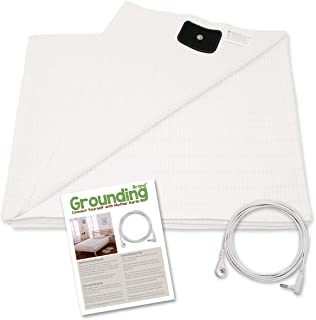 Grounding Brand Half Sheet with Earth Connection Cord - Silver Antimicrobial Conductive Mat for Better Sleep, EMF Protection and Healthy Energy, Large 98x35.5 fits Full, Queen, King, White