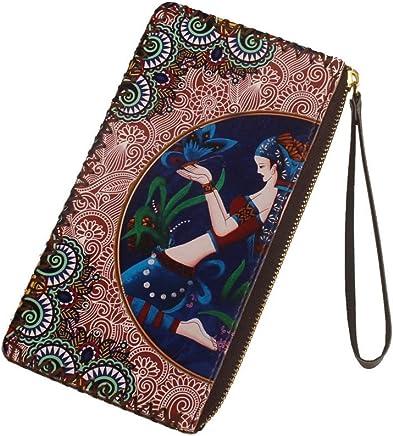 Weiblich Vintage ethnischen Stil Damen Handgelenk Brieftasche Handtasche Student handgemachte Geldb�rse Griff Tasche (Farbe : A)