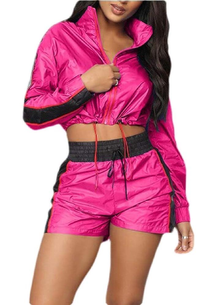 幸福リア王セラー女性2ピースウィンドブレーカートラックスーツの衣装軽量ジャンプスーツショートセット