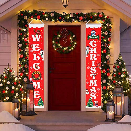 "HBlife Merry Christmas Banner Christmas Decoration Outdoor & Indoor Welcome Christmas Porch Sign 12"" x 72"", Christmas Banner Red Xmas Decor Banners for Home Decor"