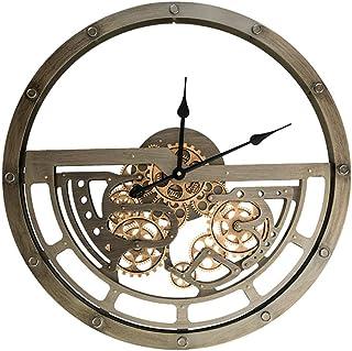 WOERD Horloge Murale Vintage avec Engrenages Mobiles Engrenages MéCaniques De DéCoration Murale De Style Industriel RéTro ...