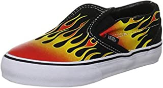 Vans Classic Slip on Hot Red Flames Infant/Toddler Baby Boy's Fashion Shoes