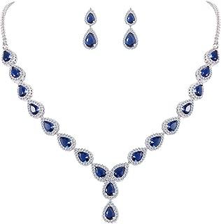 Clearine Women's Wedding Bridal Teardrop CZ Infinity Figure 8 Y-Necklace Dangle Earrings Set