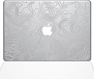 "The Decal Guru Topographic Map Macbook Decal Vinyl Sticker - 13"" Macbook Pro (2016 & newer) - Silver (1287-MAC-13X-S)"