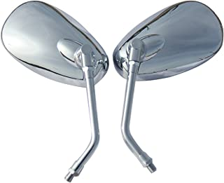 One Pair Chrome Oval Mirrors for 2001 Honda Shadow VLX 600 VT600CD Deluxe